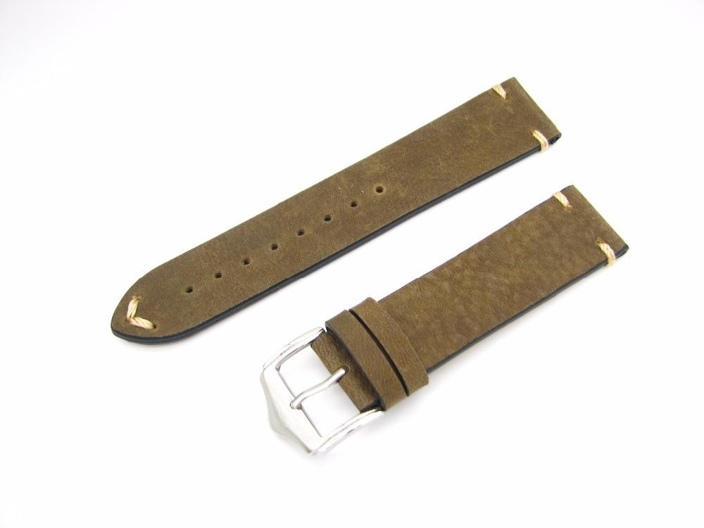 CARLYWET 20 22mm Echtes Leder Grün Braun Vintage Uhrenarmbänder - Uhrenzubehör - Foto 4