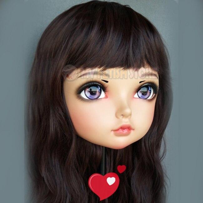 (Tao-03) feminino doce menina resina meia cabeça