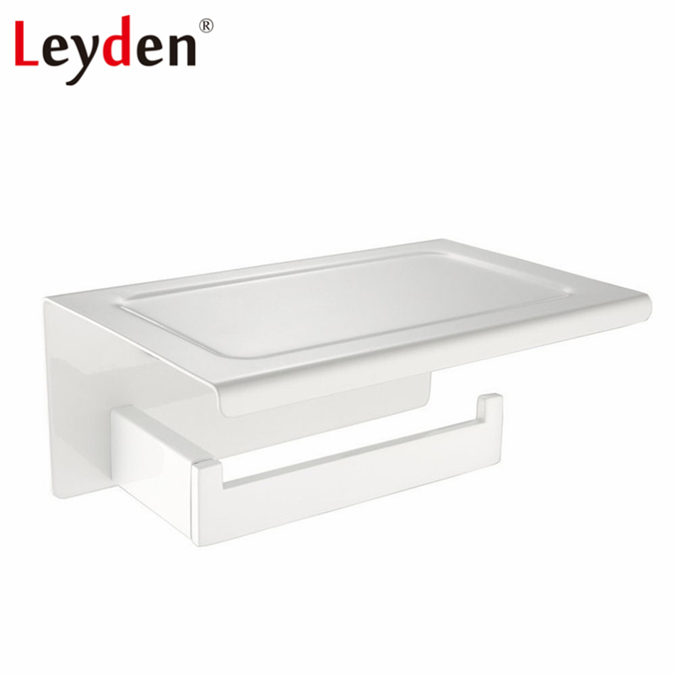 Leyden Toilet Paper Holder White Finish Stainless Steel Wall Mounted Storage with Mobile Phone Storage Shelf Bathroom Accessory stainless steel wall mounted waterproof toilet roll paper holder of high capacity for toilet hotel and bathroom