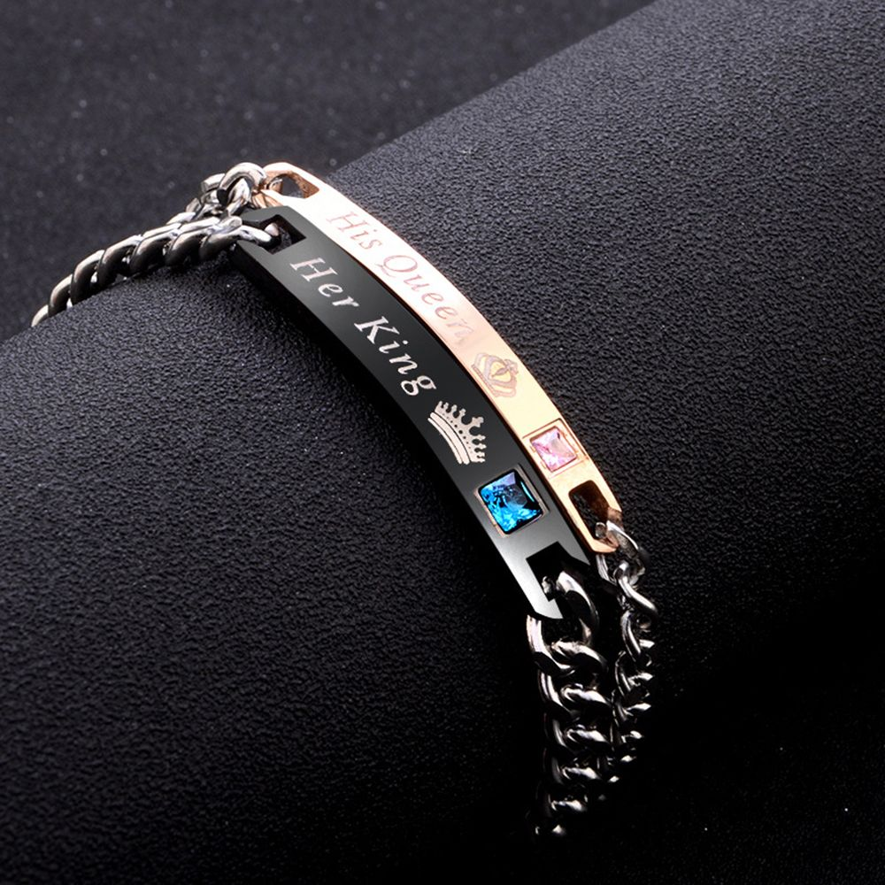Bracelets & Bangles Chain & Link Bracelets 2pcs/set His Queen Her King Black Rose Gold Color Womens Male Chain Crystal Couple Bracelet For Men Femmo On Hands Jewelry To Help Digest Greasy Food