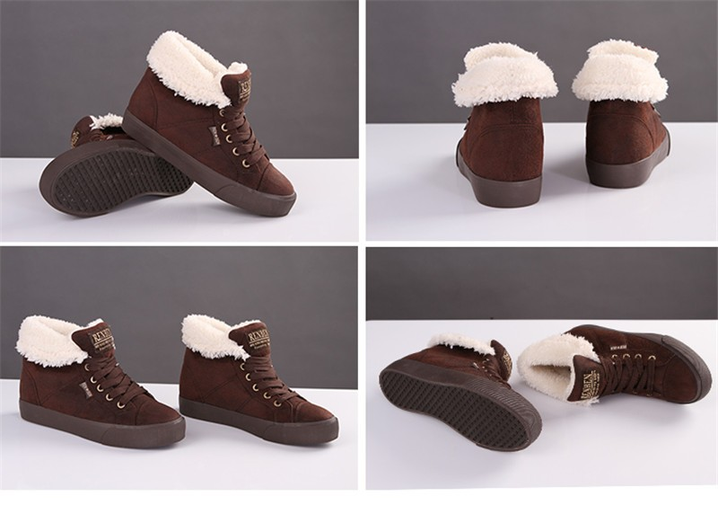 New Women Winter Faux Suede Leather Warm Plush Ankle Boots Autumn Women Shoes Fur Snow Boots Comfortable Running Shoes Sneakers 4