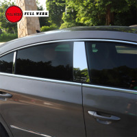 4pcs/Set SS Car Styling Window Pillar Plate Strip Sticker for Volkswagen CC 2010 2018 Window Post Cover Trim Exterior Accessory
