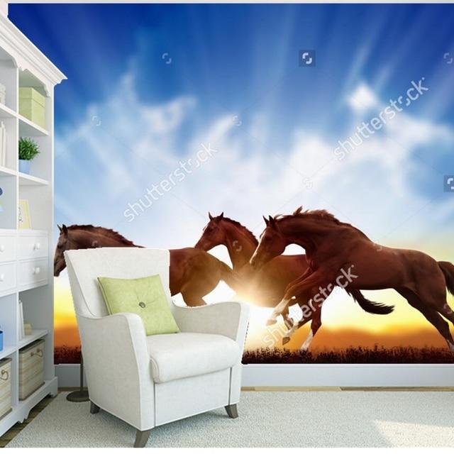 US $30.0 |Kundenspezifische natürliche landschaft tapeten, laufende pferde,  fototapeten für wohnzimmer schlafzimmer wand hintergrund wand ...