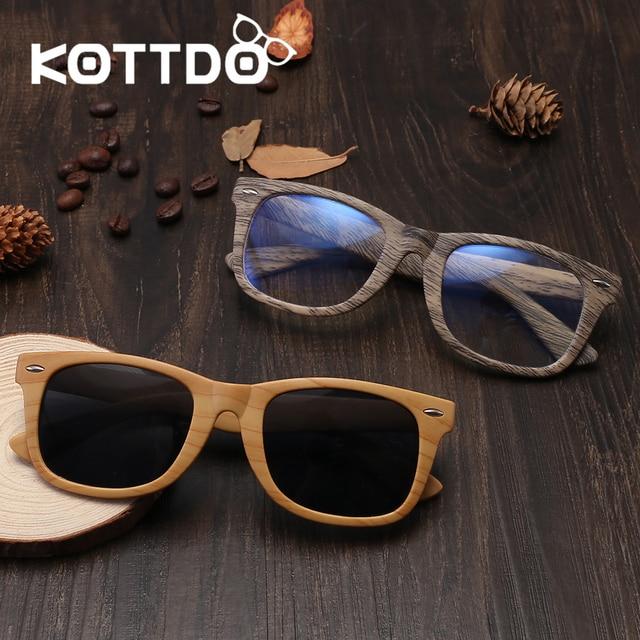 5b2af702c662e4 KOTTDO 2018 Fashion Retro Brillen Vierkante Mannen Vrouwen Vintage Houten  Zonnebril Optische Anti Blauwe Glazen Frame