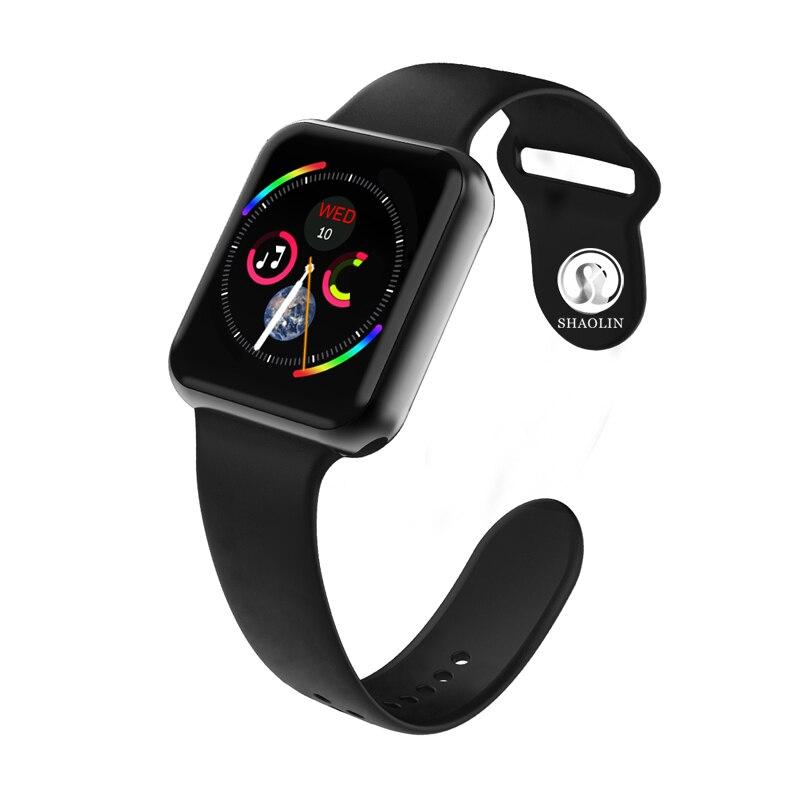 Reloj inteligente Serie 4 reloj inteligente para Apple iOS iPhone Android reloj de pulsera deportivo Bluetooth pulsera Fitness Tracker (botón rojo)