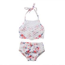2Pcs Toddler Baby Girl Lace Floral Crochet Swimwear Bathing Suit Bikini Swimsuit Set Kids Girls Summer Biquini Tankini Monokini