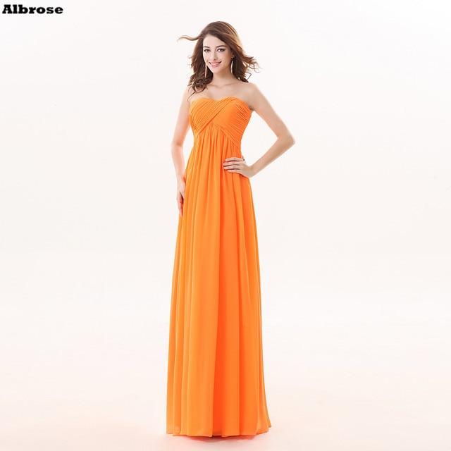 Laranja Praia Vestidos Dama de honra Barato Simples Vestido Da Dama de Longo  Chiffon Querido Formal db157c3147d9