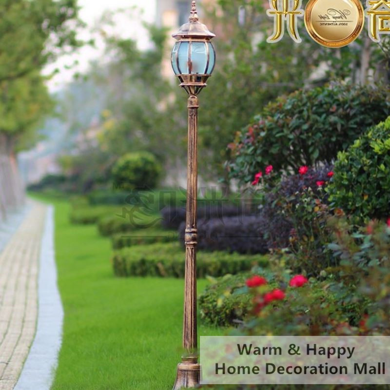 High Pole Outdoor Lighting Garden Light Post Vintage Street Lamp Spot Exterieur Led Jardin Aluminum Made Bronze Color H1 8m