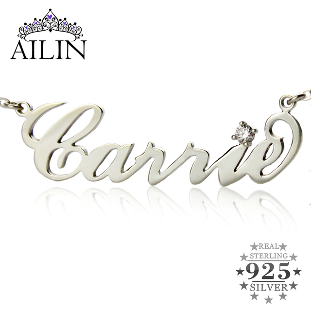 Free shipping --Any Personalized Name Necklace  Silver Carrie Style Letter Necklace with Zircon Stone Jewelry To US 2 weeks