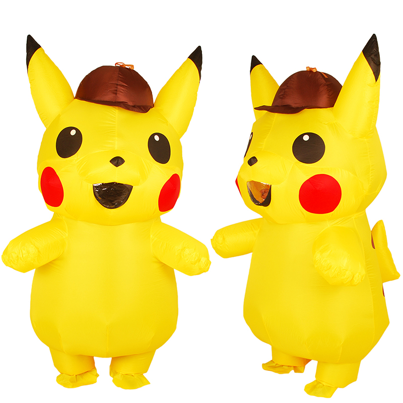 Nouveau adulte Costume de Pika gonflable Anime cosplay Pokemon détective cosplay costumes robe vêtements Halloween Costume pour adulte