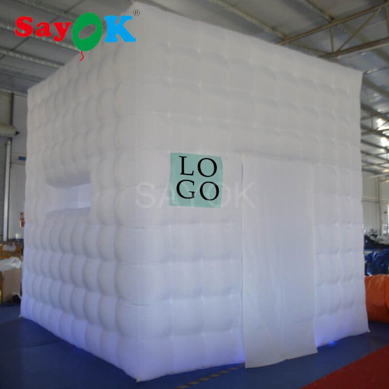 Sayok 3.5x3.5x3.5m Inflatable Photo Booth Enclosure with 17-Color LED Lights Inflatable  ...