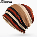 [Dexing]2017 New Double Layers Cotton Striped Hip Hop Skullies Winter Warm Hats Scarves Beanies Headgear