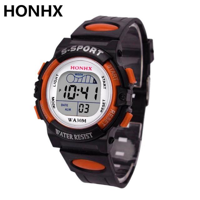 HONHX Impermeabile Mens Boy Digitale-Orologio Al Quarzo LED Alarm Data di Sport Orologio Da Polso Relojes hombre Relogio Masculino 2017