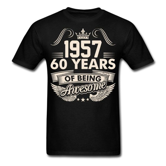 a41f83659 LEQEMAO Cheap T Shirt Design Men'S Crew Neck Birthday 60 Years Awesome  Since 1957 Short Graphic Tees