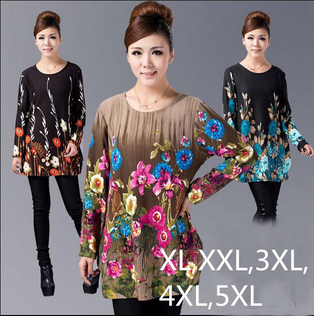 2016 Inverno Mulheres Blusa Pullover Grande Plus Size Camisa Casual dress Impressão mulher túnica blusas vestidos ZJ3035 XL, XXL, 3XL, 4XL, 5XL