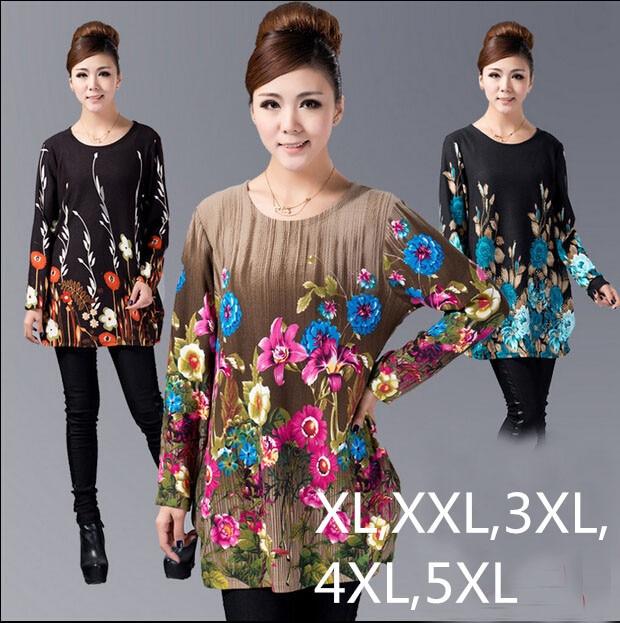 2016 Winter Women Blouse Pullover Big Plus Size Shirt Casual Print dress woman tunic blusas vestidos ZJ3035 XL,XXL,3XL,4XL,5XL