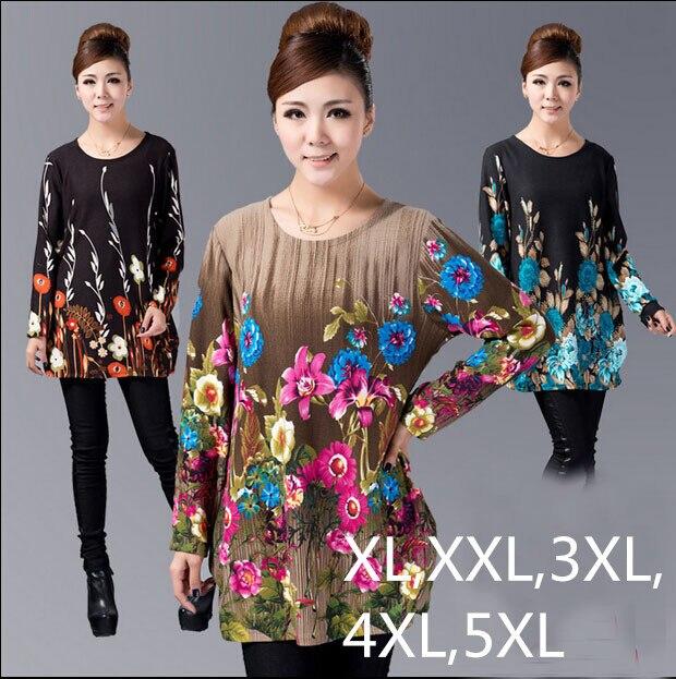 2017 Winter Women Blouse Pullover Big Plus Size Shirt Casual Print woman tunic blusas vestidos ZJ3035 XL,XXL,3XL,4XL,5XL