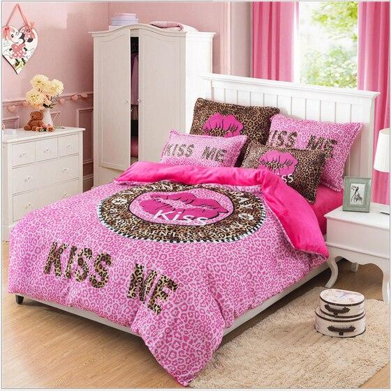 Romantic Pink Bedding Set Coral Velvet Bed Linen Set Comfortable