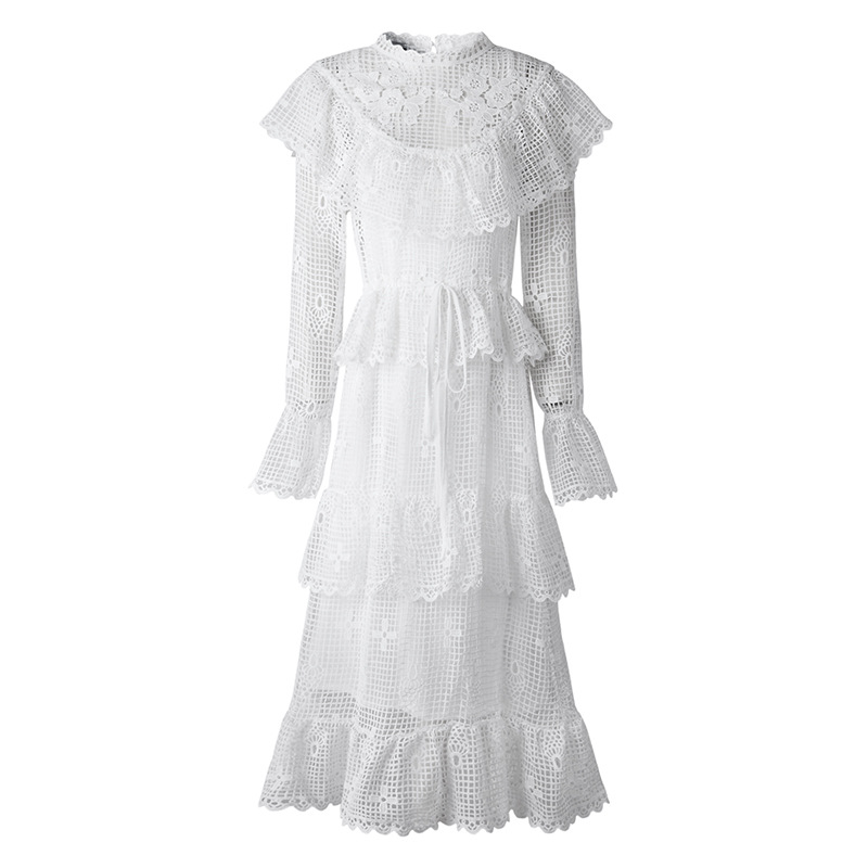 f3068e6f57f0 Pizzo White Abito Lunghe Partito Di Femminile Casual Maniche Corte  Dell annata Delle A Bianco Donne Romantico Vestito Elegante Principessa Del  Da ...