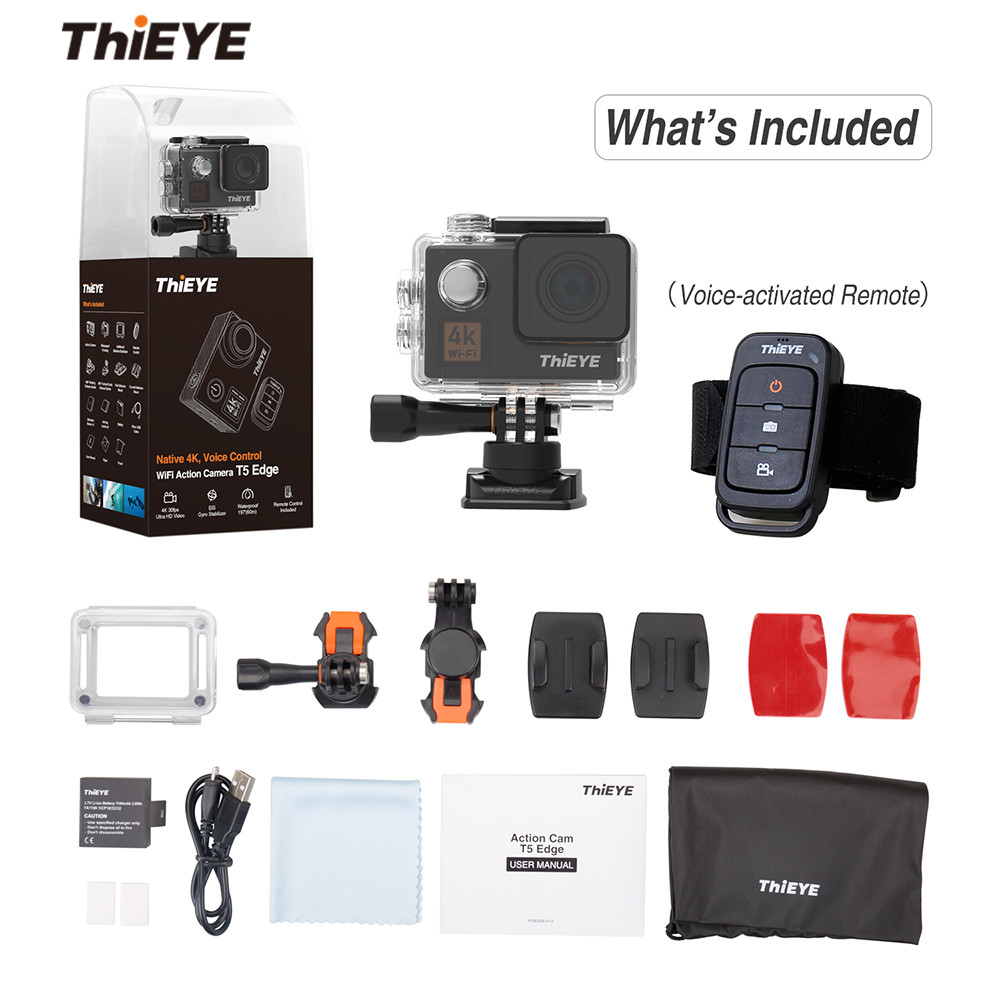 ThiEYE T5 Edge With Live Stream WiFi Action Camera Real 4K Ultra HD Sport Cam with EIS Voice Control 60M Waterproof Sport Cam цена