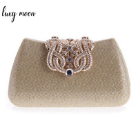 gold clutch full luxury diamond crown evening bags silver evening clutch party purse glitter wedding bags 100% real picture