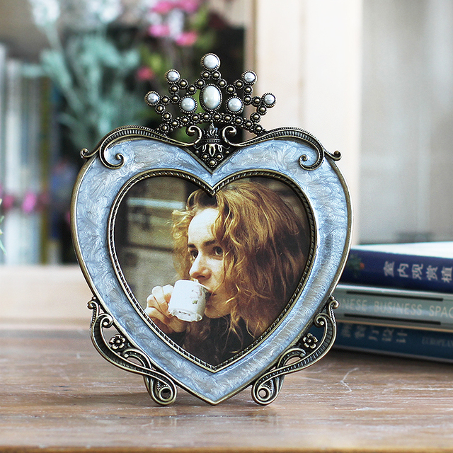 5 Inch Metal Hanging Picture Photo Frames Wedding Table Crown Heart ...