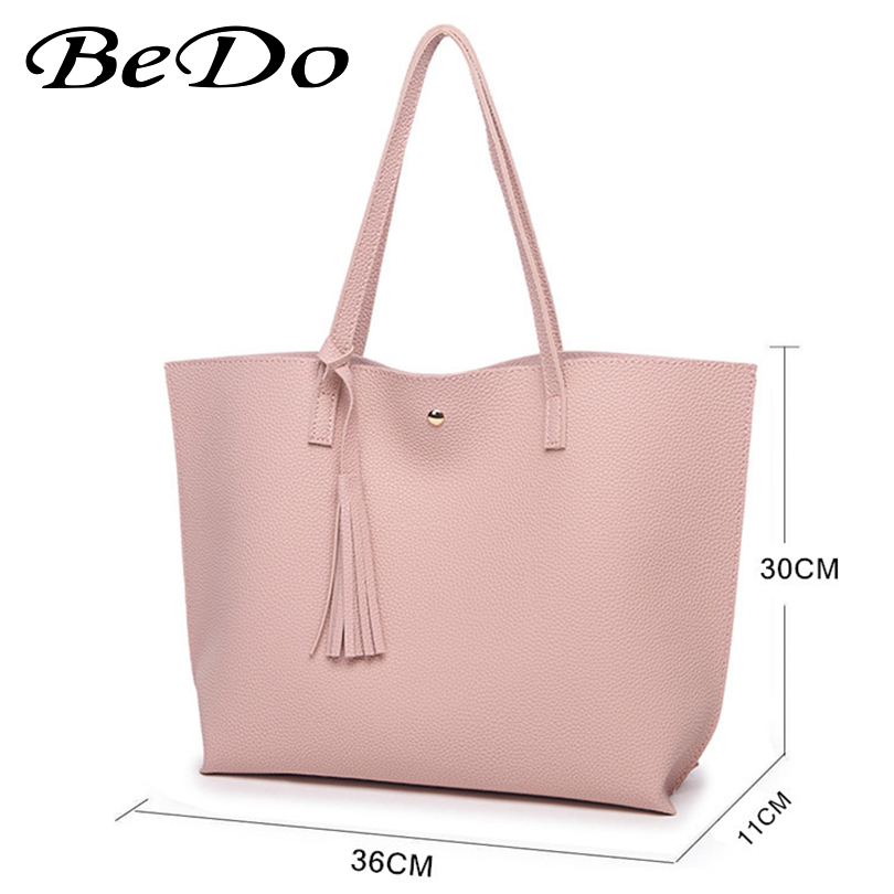 Bedo Pink brand handbag women shoulder bag female casual large tote bags pu artificial leather ladies hobo handbags new vintage pu washable leather tote hobo bags for women designer shoulder handbags ladies large bag 2017 big hobo sling purses