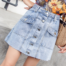 Denim Skirts Womens Plus Size Vintage Jean Skirt Summer High Waist Mini Women Button Pockets Jupe Femme Saia Jeans
