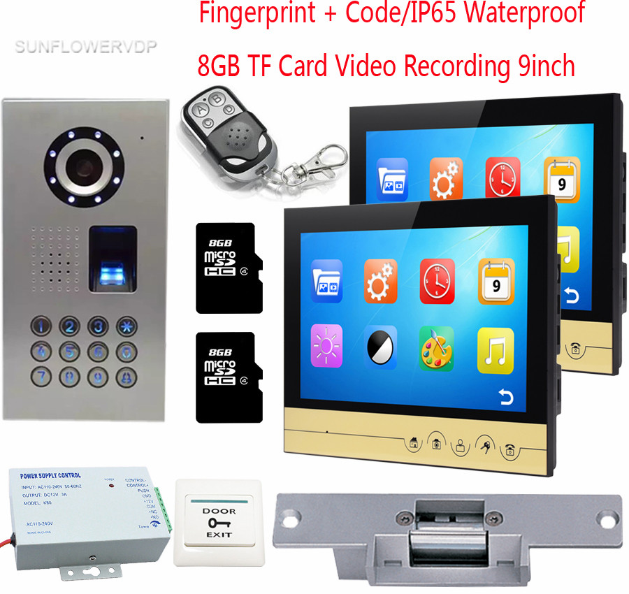 Fingerprint Door Video Call 8GB TF Card Recording Videophone 2 Monitors 9 Color Screens IP65 Waterproof