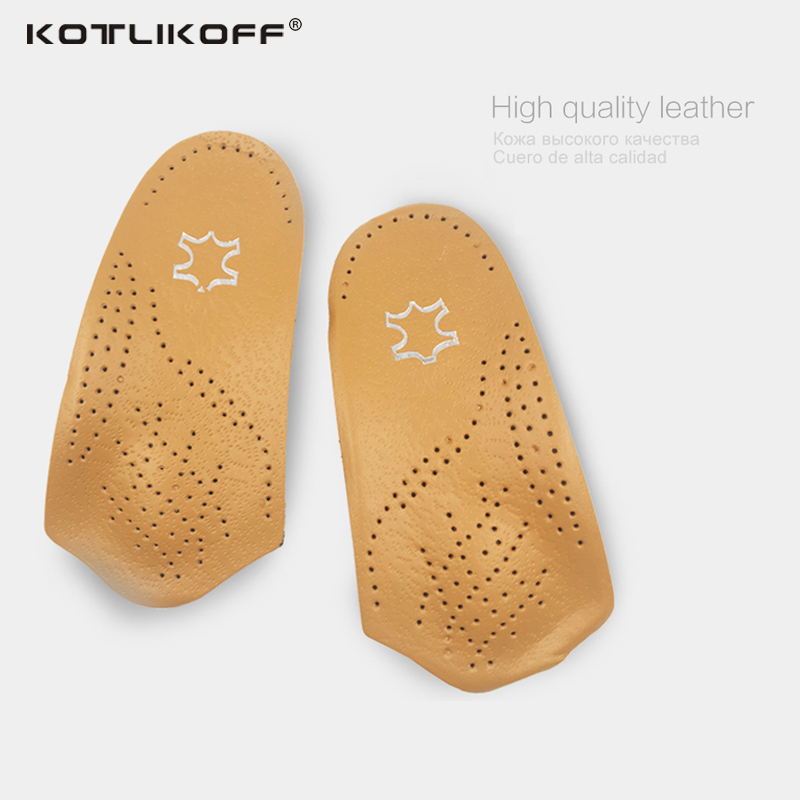KOTLIKOFF 3/4 length Leather insole Flat Foot Orthotic insoles Arch Support 2.5cm Half Shoe Pad Orthopedic Insoles Foot Care