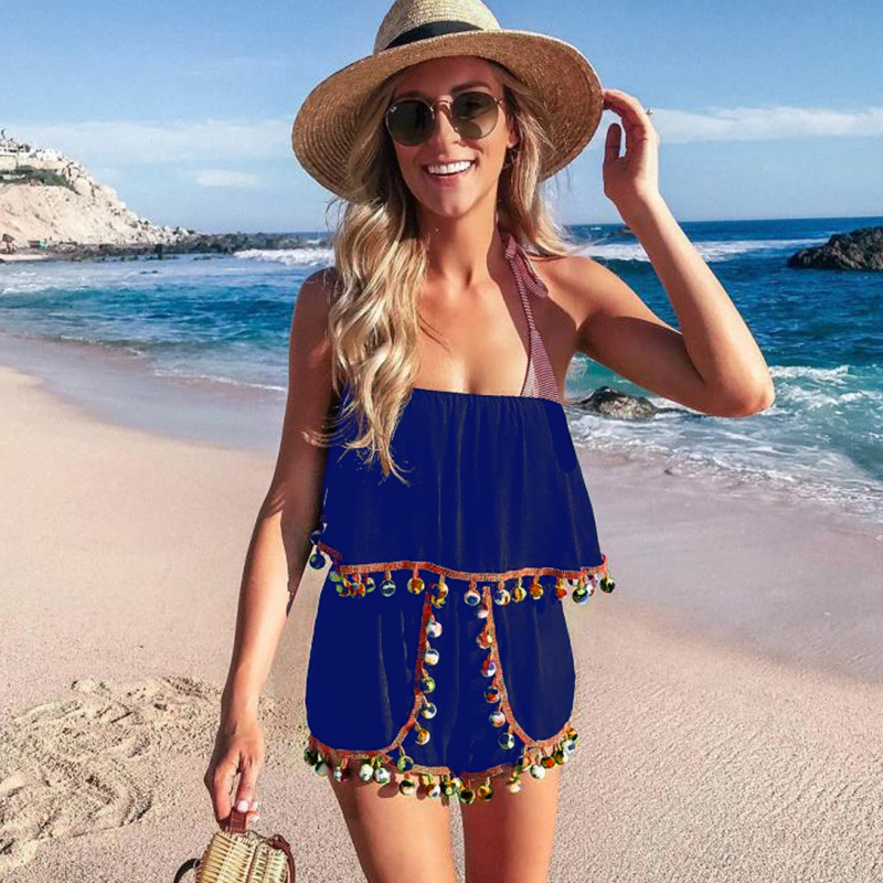 Fashion Sexy Women Off Shoulder Short Playsuit Strapless Tassels Jumpsuit Overlay Sleeveless Rompers Solid Beachwear Bodysuits