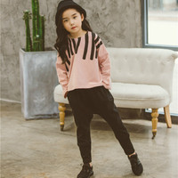 2018 New Children S Girls Clothing Set Spring Patchwork Sweatshirts Top Pants Trousers Girls Children S