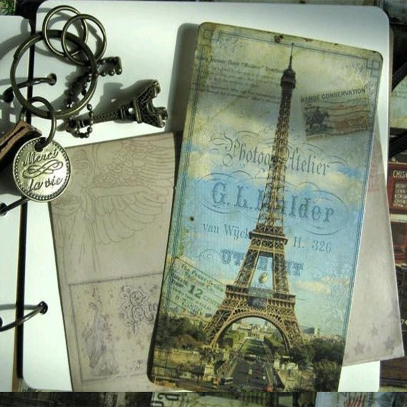 20 Sheets Vintage Letter Paper Europe Eiffel Tower Post Card Poster Drawing Greeting Postcard Set