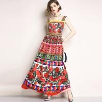 star style woman summer maxi print dress sleeveless female floral long party dress lady runway dress