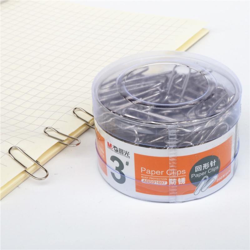 200pcs/box Paper Clip M&G School Book Marker Round Clip Office Document Storage Supplies