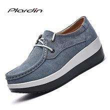 a5eab348f Plardin/Новая женская обувь на плоской платформе монета Лоферы замша кожа  слипоны Moccains женские весенние