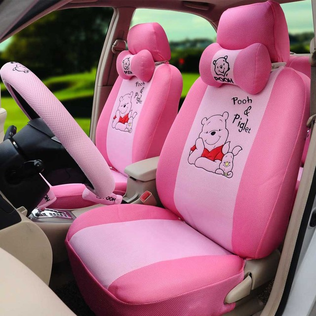 Classical Cartoon Pooh Car Seat Covers 1 Set Ice Silk Belt Cover Head Rest
