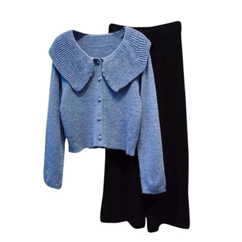 Chaqueta Las Primavera Trajes Moda Cintura Suéter Pantalones Dos Mujeres Punto Pierna De Ancha 1 3 Rebeca Alta 2 Calidad 8qHpww1yc