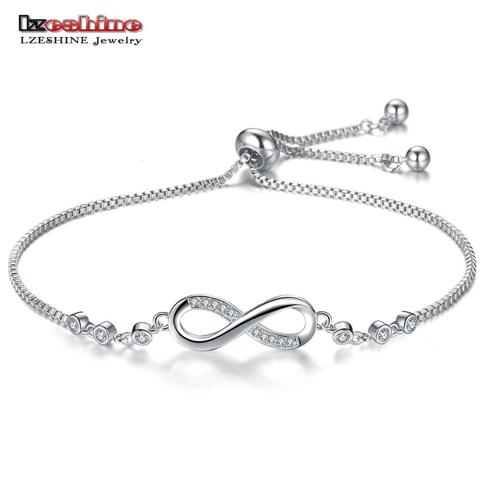LZESHINE Trendy Silver Color New 8 Shape Geometric Adjustable Charm Bracelets & Bangles For Women Fashion Jewelry gift