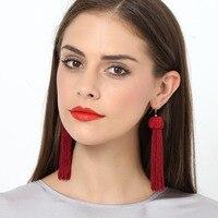 BK Moda de Nova Multi Color Fashion Enthic Jóias Resin Beads Boho Fringe Borlas Dangle Hoop Brincos Longos