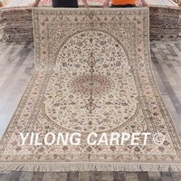 YILONG 6'x9' kashmiri handmade persian carpet vantage exquisite beige turkish silk rug (YHW045B6x9)
