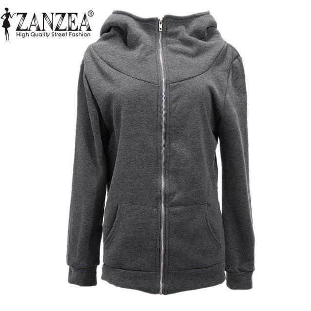 638675b21f03d ZANZEA mujeres Hoodies sudaderas de lana abrigo 2018 Otoño Invierno diseño  de la cremallera de manga larga con capucha más tamaño 4XL