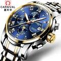 Carnival ver hombres reloj mecánico automático esquelético de oro esqueleto de la vendimia watchskeleton hombre mens relojes de primeras marcas de lujo