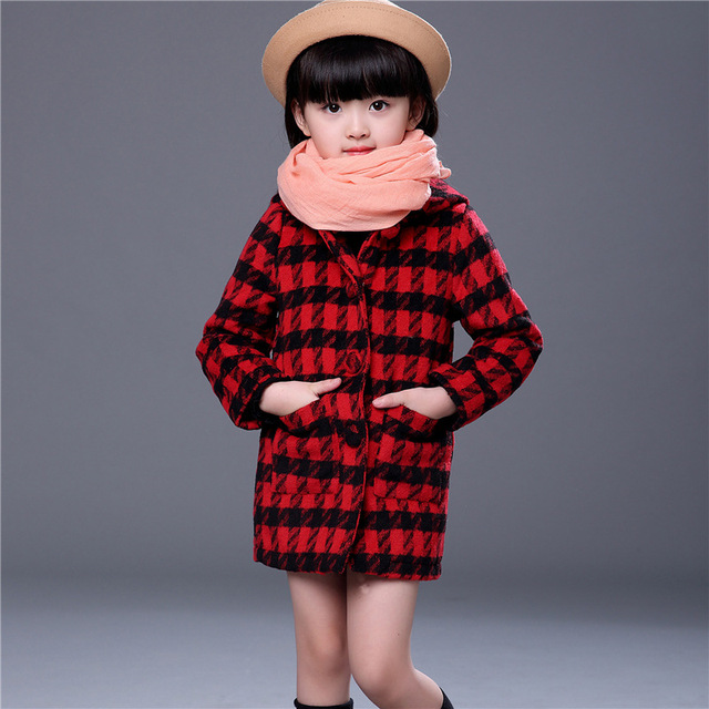 2016 New Girls Hooded  Plaid Coat Children Fashion Outerwear Kids Autumn Jacket Girl Fashion Clothes