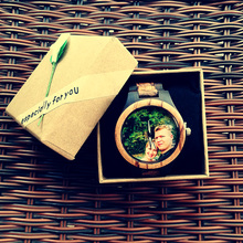 Unique Personality Private Customized Watch Photos Print Bamboo Wooden Watches Men Women Vintage Clock Family Gift
