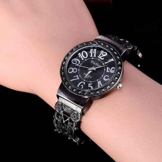 Retro Bracelet Watch Women Watches Rhinestone Ladies Watch Stainless Steel Women