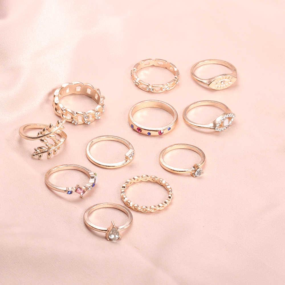 15 ชิ้น/เซ็ตผู้หญิงแหวนทองชุดอัญมณี Zircon แหวนหลายรูปแบบชุดแหวนบุคลิกภาพที่เรียบง่ายเครื่องประดับสาวของขวัญ