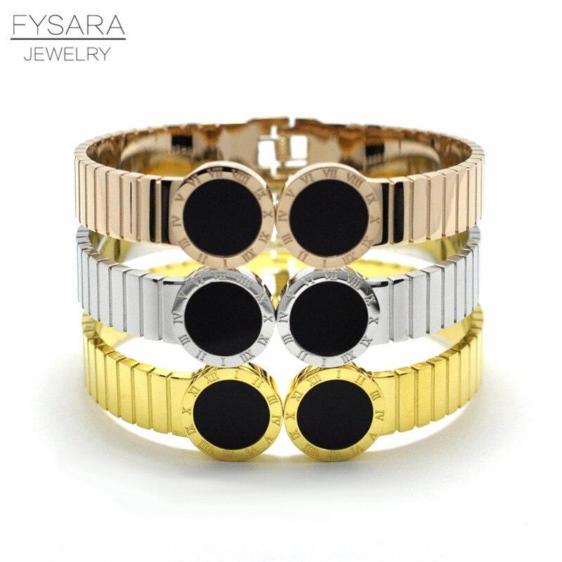 FYSARA Luxury Brand Width Belt Bangles Round Black Cuff Bracelets Jewelry Stainless Steel Roman Numeral Cuff Bracelets Men Women luxury brand love bracelets