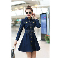 Women S Denim Dresses 2015 Summer New In Fashion Korean Style Retro Long Sleeves Solid Color