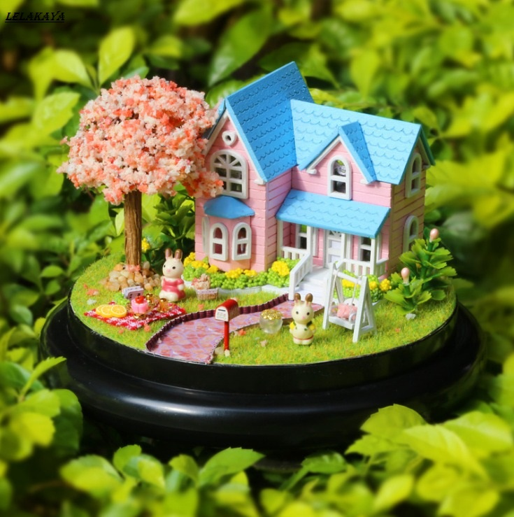 doll houses farm garden wooden miniature home assembling dollhouse room diy Furniture glass ball doll house toys kit new 1
